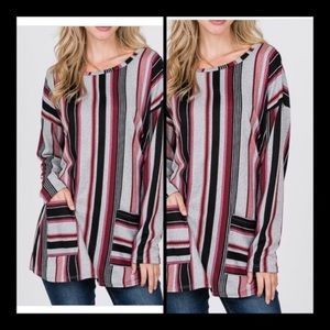 STRIPED PRINT TUNIC TOP WITH SIDE POCKETS
